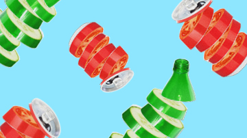Bottle and cans that look like vegetables