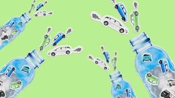 Cars coming out of plastic bottles